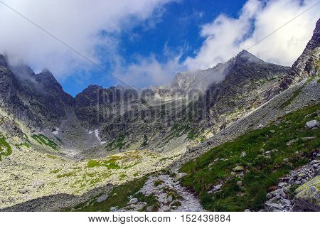 Beautiful scenery of mountain trail. Tatry. Slovakia