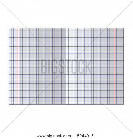 School notebook paper. Notebook squared paper, vector illustration