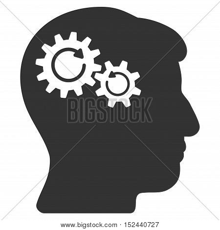 Head Wheels Rotation vector icon. Style is flat graphic symbol, gray color, white background.