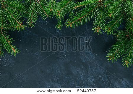 Top framework of evergreen twigs over painted black surface