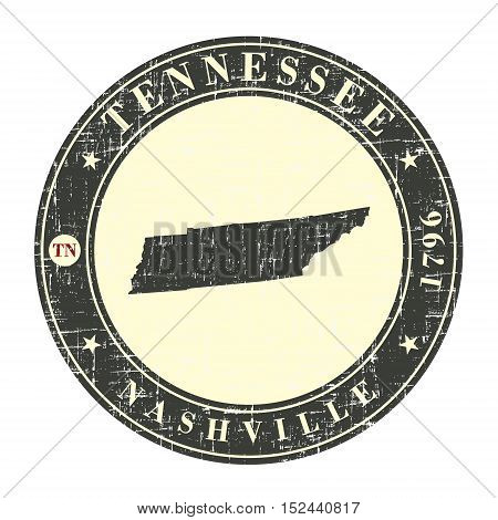 Vintage stamp with map of Tennessee. Stylized badge with the name of the State year of creation the contour maps and the names abbreviations . Vector illustration