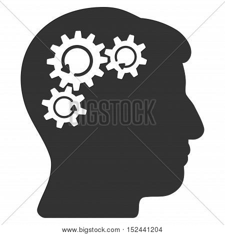 Mind Gear Rotation vector icon. Style is flat graphic symbol, gray color, white background.