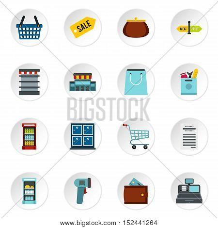 Supermarket icons set. Flat illustration of 16 supermarket vector icons for web