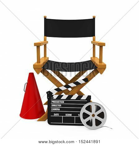 Director Chair and Filmmaker Equipment isolated on white background. 3D render