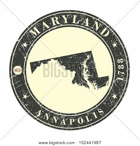 Vintage stamp with map of Maryland. Stylized badge with the name of the State year of creation the contour maps and the names abbreviations . Vector illustration