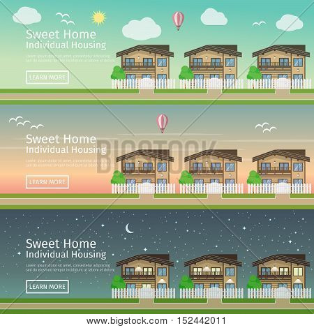 Beautiful set of flat vector web banners on the theme of country Real Estate at different times of day.