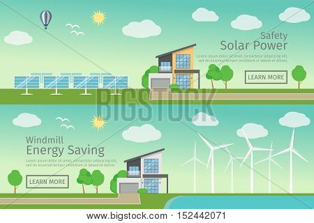 Modern Houses with alternative Eco Green Energy, flat web banners set concept. Wind Turbines and Solar Panels set. Vector illustration