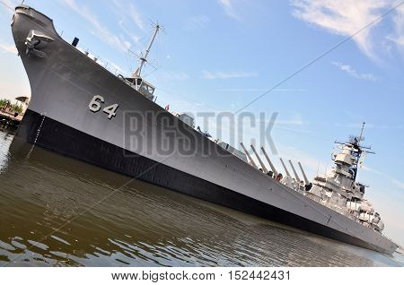 USS Wisconsin Battleship (BB-64) in Norfolk, Virginia, USA.