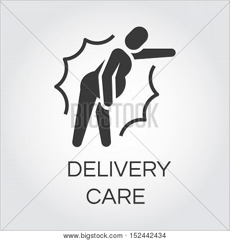 Icon of person in pain. Label drawn in flat style. Delivery care concept. Simple black logo for websites, mobile apps and other design needs. Vector contour pictograph