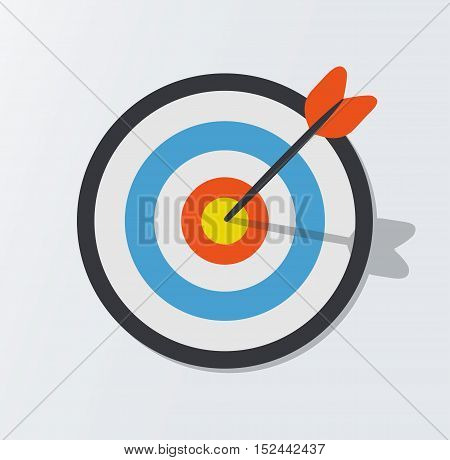 Target hit in the center by arrows. Vector icon illustration.