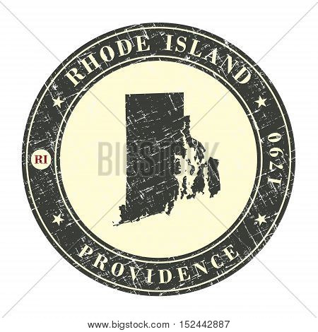Vintage stamp with map of Rhode Island. Stylized badge with the name of the State year of creation the contour maps and the names abbreviations . Vector illustration