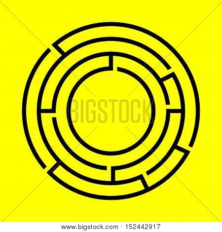 Black round maze on the yellow background. Vector design