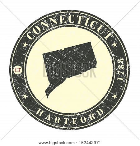 Vintage stamp with map of Connecticut. Stylized badge with the name of the State year of creation the contour maps and the names abbreviations . Vector illustration