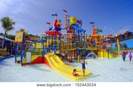 Kids Having Fun At Legoland Water Park