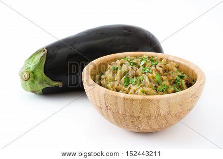 Eggplant baba ganoush and eggplant vegetable isolated on white background