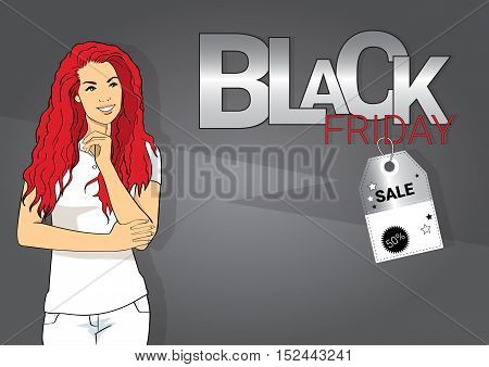 Young Woman Black Friday Sale Holiday Shopping Banner Copy Space Vector Illustration