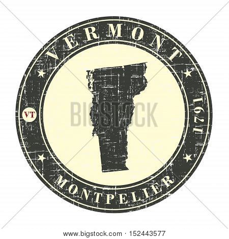 Vintage stamp with map of Vermont. Stylized badge with the name of the State year of creation the contour maps and the names abbreviations . Vector illustration