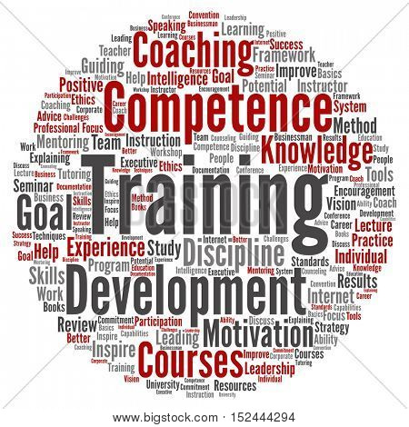 Concept or conceptual training, coaching or learning, circle  word cloud isolated on background
