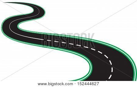 illustration with isolated black asphalt roads and roadsides
