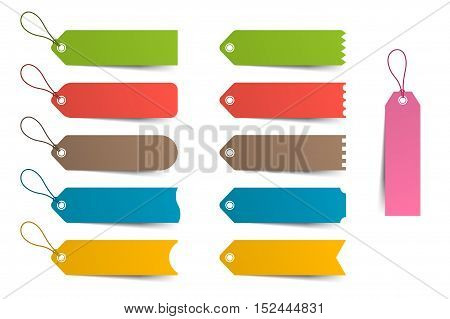 Colorful labels, price tag, template set Vector illustration