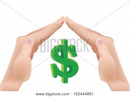 cover with symbol dollar coin currency hands
