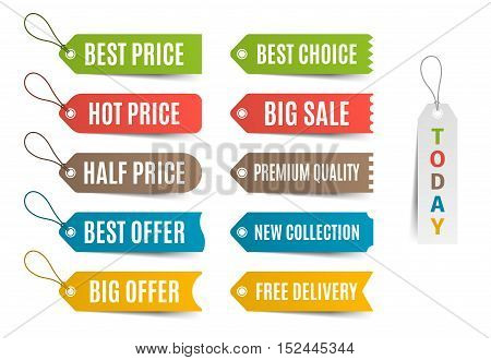 Colorful labels with offer and price tags. Vector illustration.