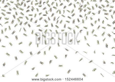 3d rendering of falling dollar bills isolated on a white background. Large amount of money. Receiving a windfall. Making a pile.