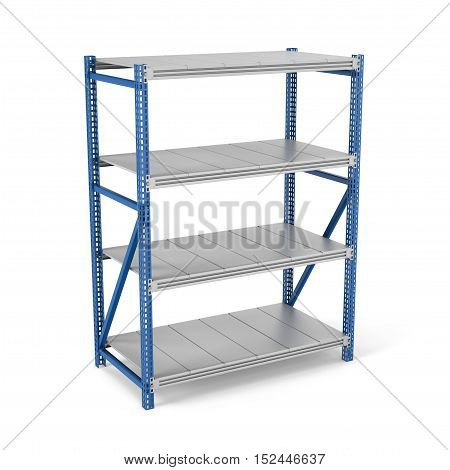 3d rendering of a metal rack with four shelves, isolated on a white background. Steel Furniture. Shelving units. Open storage system. Keeping and storing stuff.