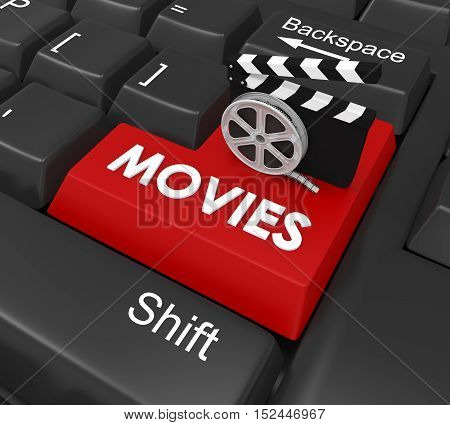 Movies Enter Button isolated on white background. 3D render