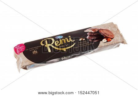 Stockholm, Sweden - January 29, 2016: A pack Remi Nougat from Goteborgskex with chocolate-covered biscuit with nougat filling on wafers for the Swedish market isolated on white.