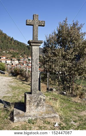 Stone cross symbol of faith of the people of Gavieira village in the Peneda Mountain North of Portugal