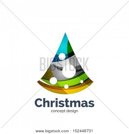abstract geometric Christmas tree icon. New Year concept created with waves