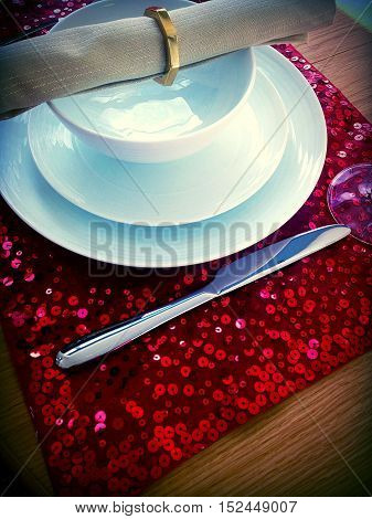 red table setting for Christmas valentines day or a dinner party