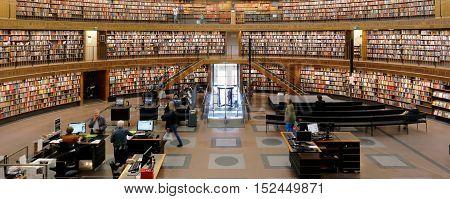 Stockholm, Sweden - June 27, 2014: Interior Stockholm Public Library at Sveavagen designed by Gunnar Asplund inaugurated March 31 1928