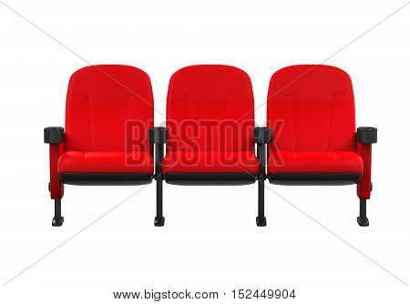 Red Theater Seat isolated on white background. 3D render
