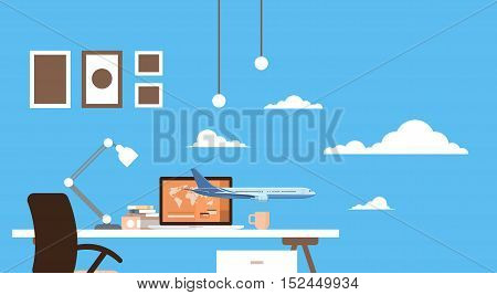 Empty Workplace Table Laptop Buy Ticket Online Application Travel Booking Air Plane Flight Flat Vector Illustration