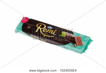 Stockholm, Sweden - December 19, 2015: A pack Remi Mint from Goteborgskex with chocolate-covered mint filling on wafers sold on the Swedish market