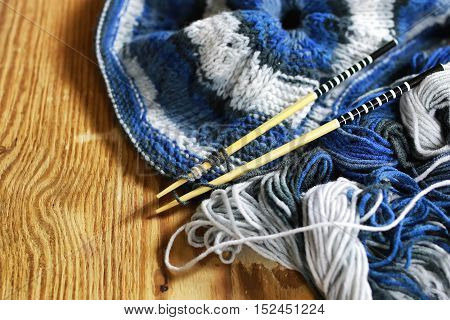 woolen threads of different colors for knitting scarves for the grandchildren