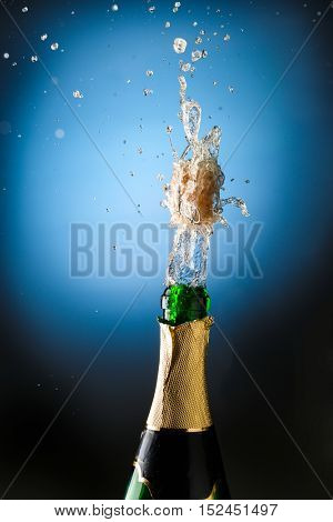 Closeup of champagne explosion