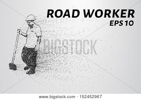 Road worker of the particles. Worker standing with a shovel. Worker consists of small circles.