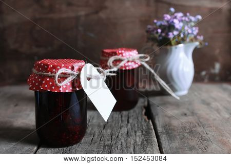 small jars with homemade food prepared at home with love