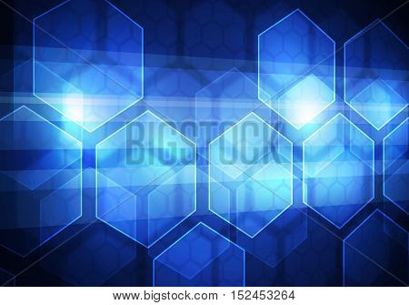Abstract connection structure as connection concept on blue color background