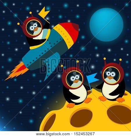 adventure penguins on the moon - vector illustration