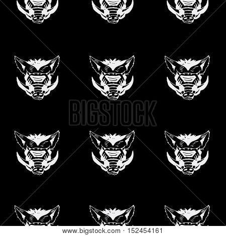 Pattern, stencil boar head.Unique technique Vintage hand drawn style