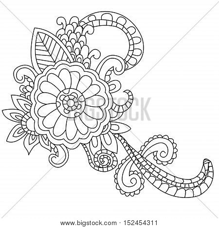 Flower coloring book for adults vector illustration. Anti-stress coloring for adult. Zentangle style. Black and white lines. Lace pattern