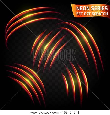 Neon Series set of cat scratch. Bright neon glowing effect. Transparent background. Abstract glowing crack speed imitation bright red effect. Vector illustration.