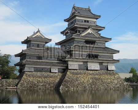 Matsumoto Castle with moat in Matsumoto, Nagano, Japan