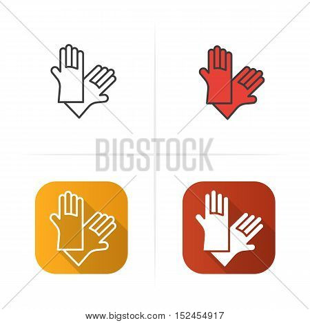 Latex gloves icon. Flat design, linear and color styles. Isolated vector illustrations