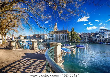 ZUERICH SWITZERLAND - February 11 2016 - View of historic Zurich city center with famous Grossmunster Church Limmat river and Zurich lake. Zuerich is the largest city in Switzerland and the capital of the canton of Zuerich.