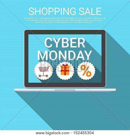 Cyber Monday Big Shopping Sale Banner Flat Vector Illustration